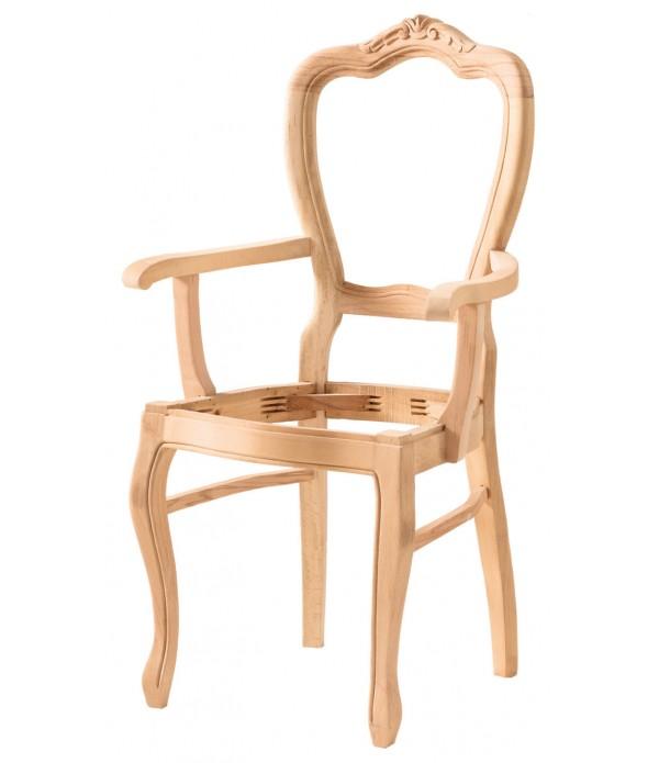 Hasırlı Klasik Oymalı Kollu Sandalye