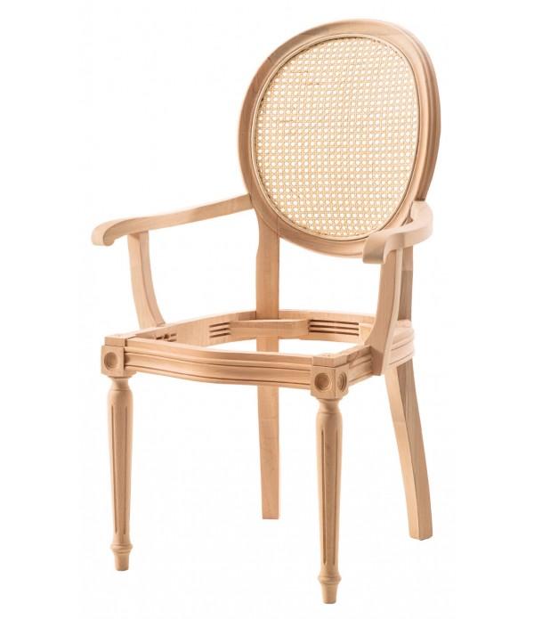 Hasırlı Tornalı Kollu Sandalye